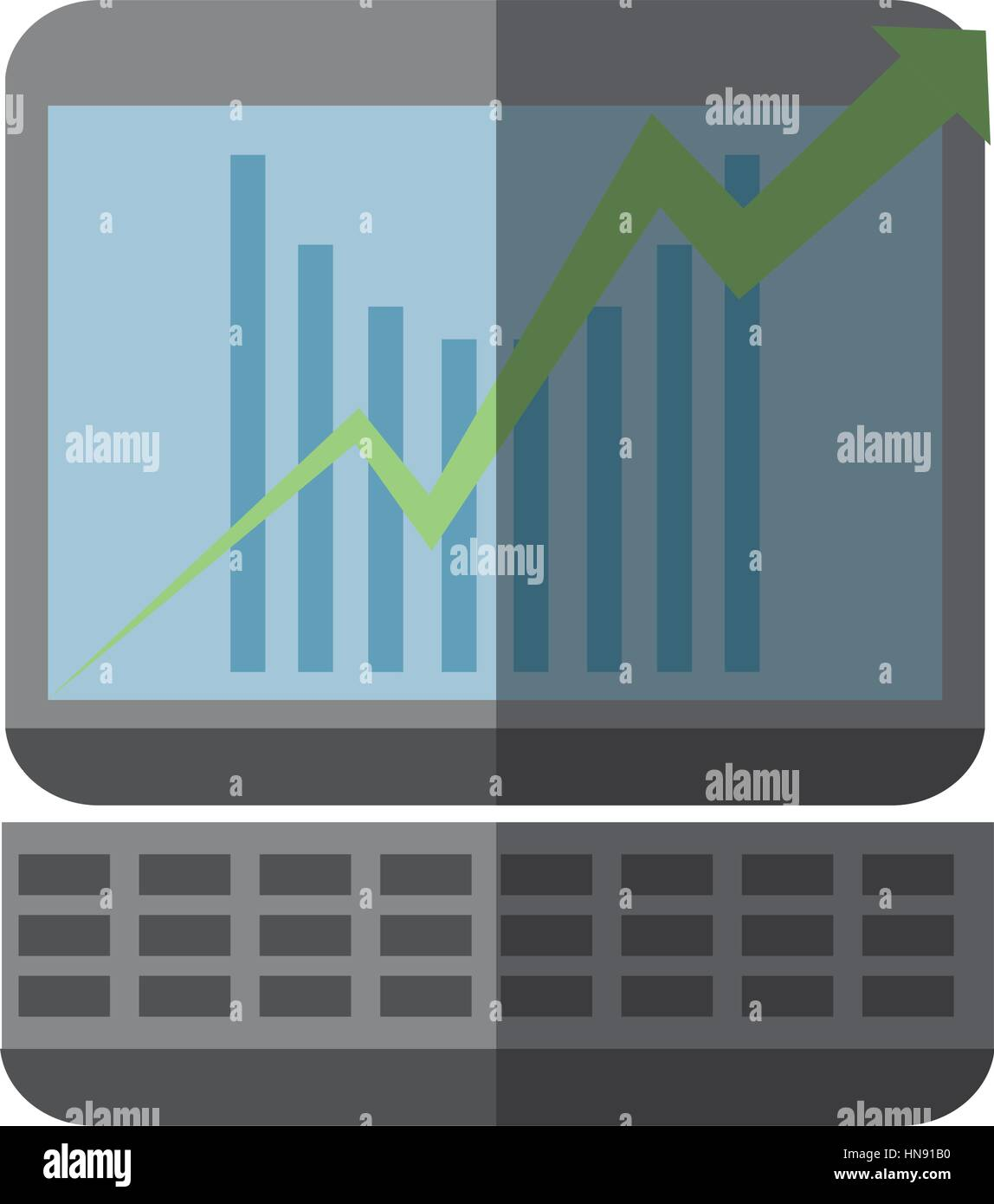 computer with business related icon image, vector illustration - Stock Image