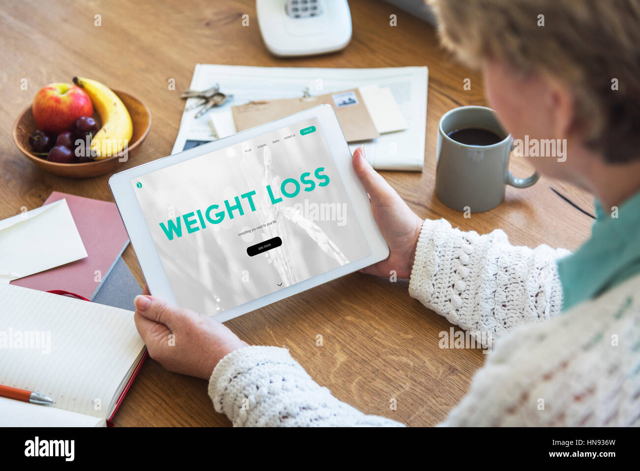 Healthy lifestyle online webpage interface - Stock Image