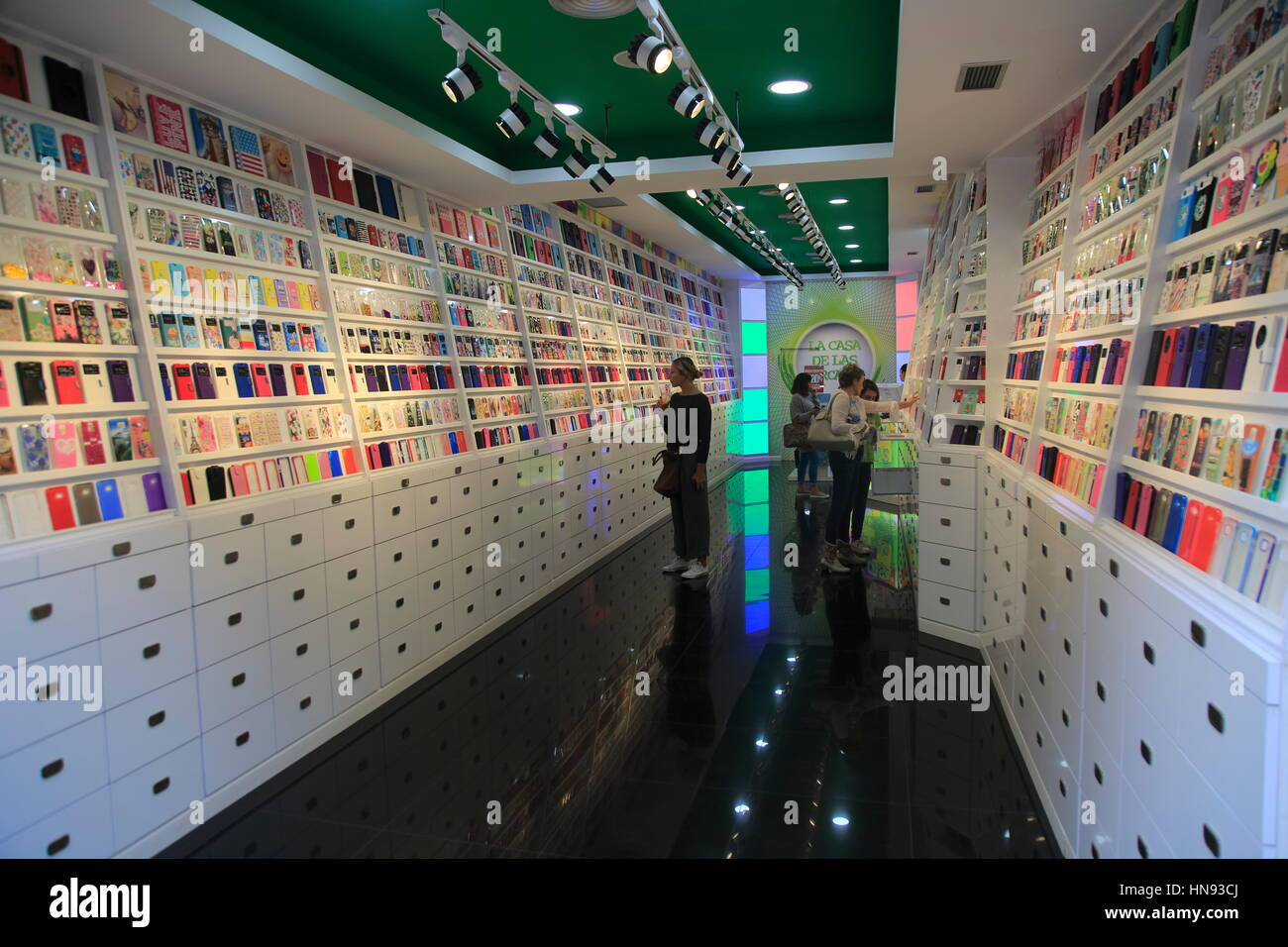 the best attitude 0a3c4 4bdce Interior of shop selling mobile phone cases, Valencia, Spain Stock ...