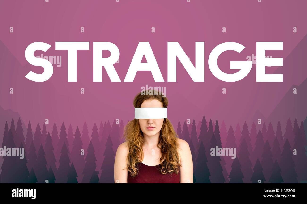 Curious Mystery Bizarre Strange Concept - Stock Image