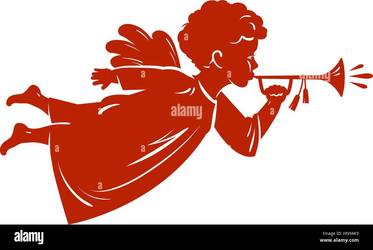 Silhouette Christmas Angel blowing a trumpet. Cherub, Heavenly messenger symbol. Religion vector illustration - Stock Vector
