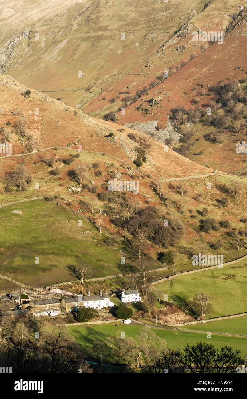 Farm under Park Fell a the top of the Troutbeck Valley in the Lake District - Stock Image