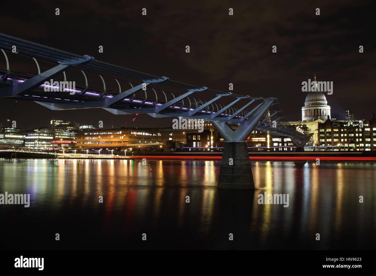 The Millennium Bridge across the Thames, London, United Kingdom - Stock Image