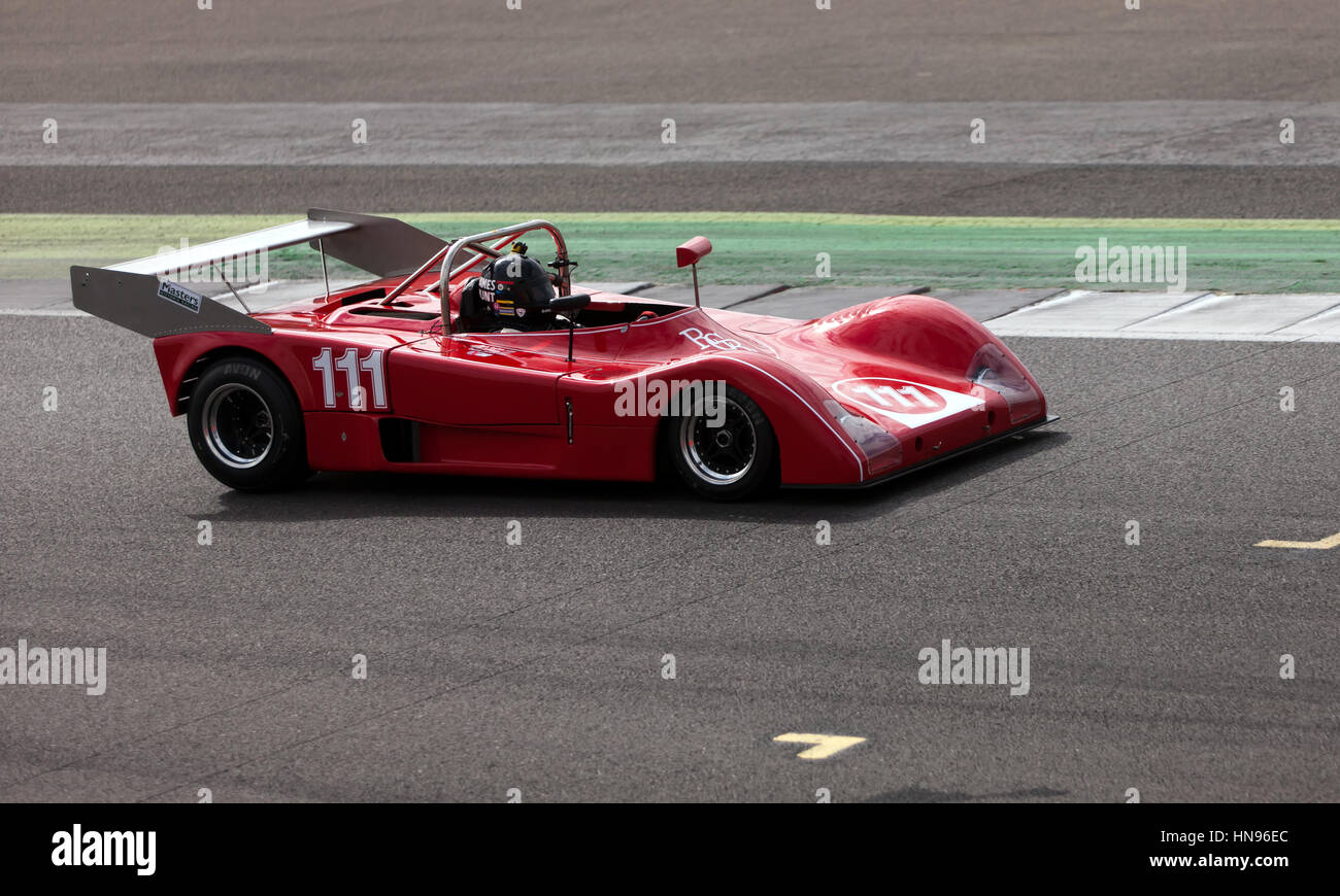 Rick Carlino driving a Red, 1975,, GRD S72 during the Can-Am Interserie Challenge Trophy at the 2016 Silverstone - Stock Image