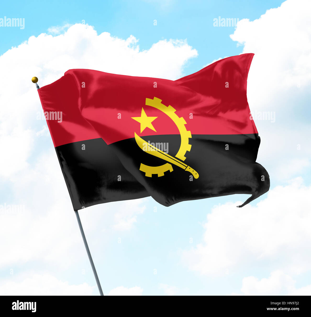 Flag of Angola Raised Up in The Sky Stock Photo