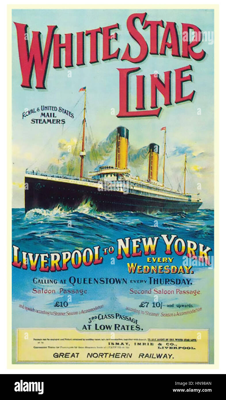 WHITE STAR LINE poster about 1905 showing the RMS Oceanic liner - Stock Image