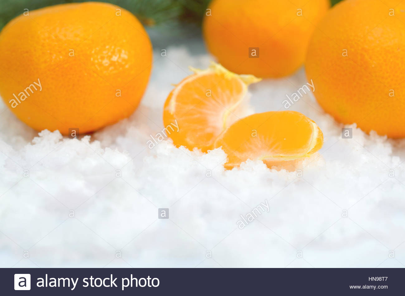 Tangerines On A White Background - Stock Image