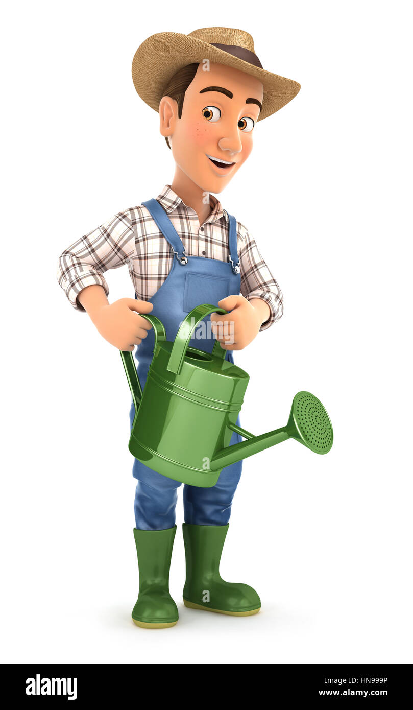 3d farmer holding watering can, illustration with isolated white background Stock Photo