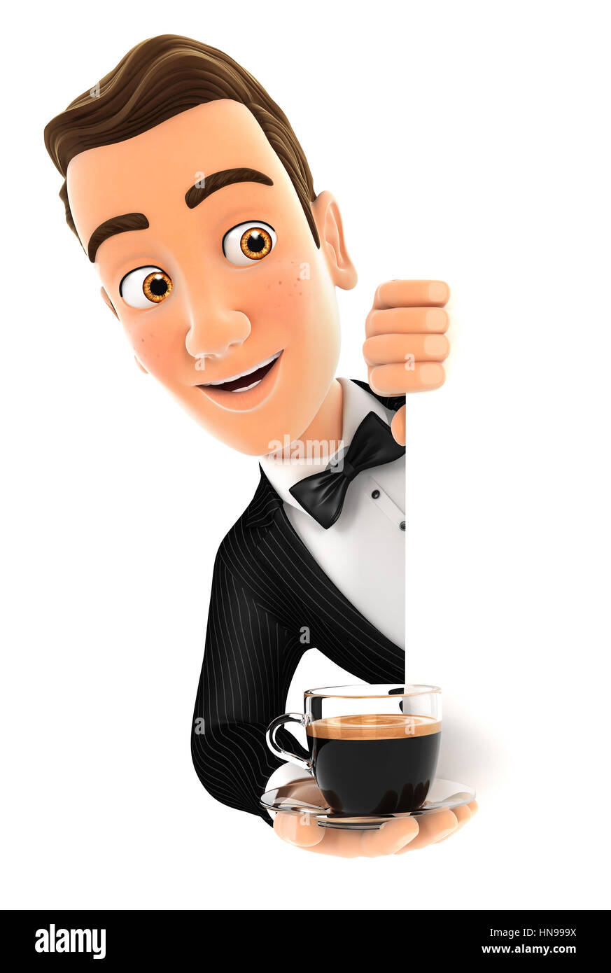 3d waiter behind left wall and holding cup of coffee, illustration with isolated white background Stock Photo