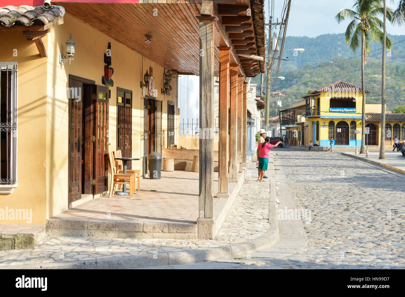 Copan Ruinas, Honduras - May 10, 2015: The view of the main plaza of a small colonial town of Copan Ruinas in Honduras, - Stock Image