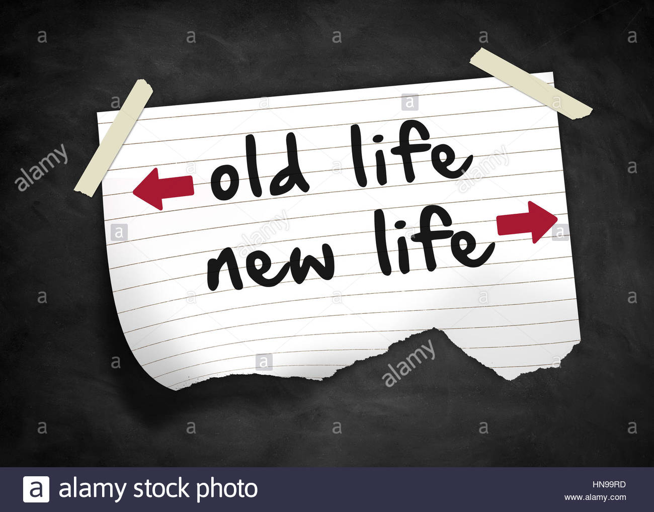 Old Life New Life - note concept - Stock Image