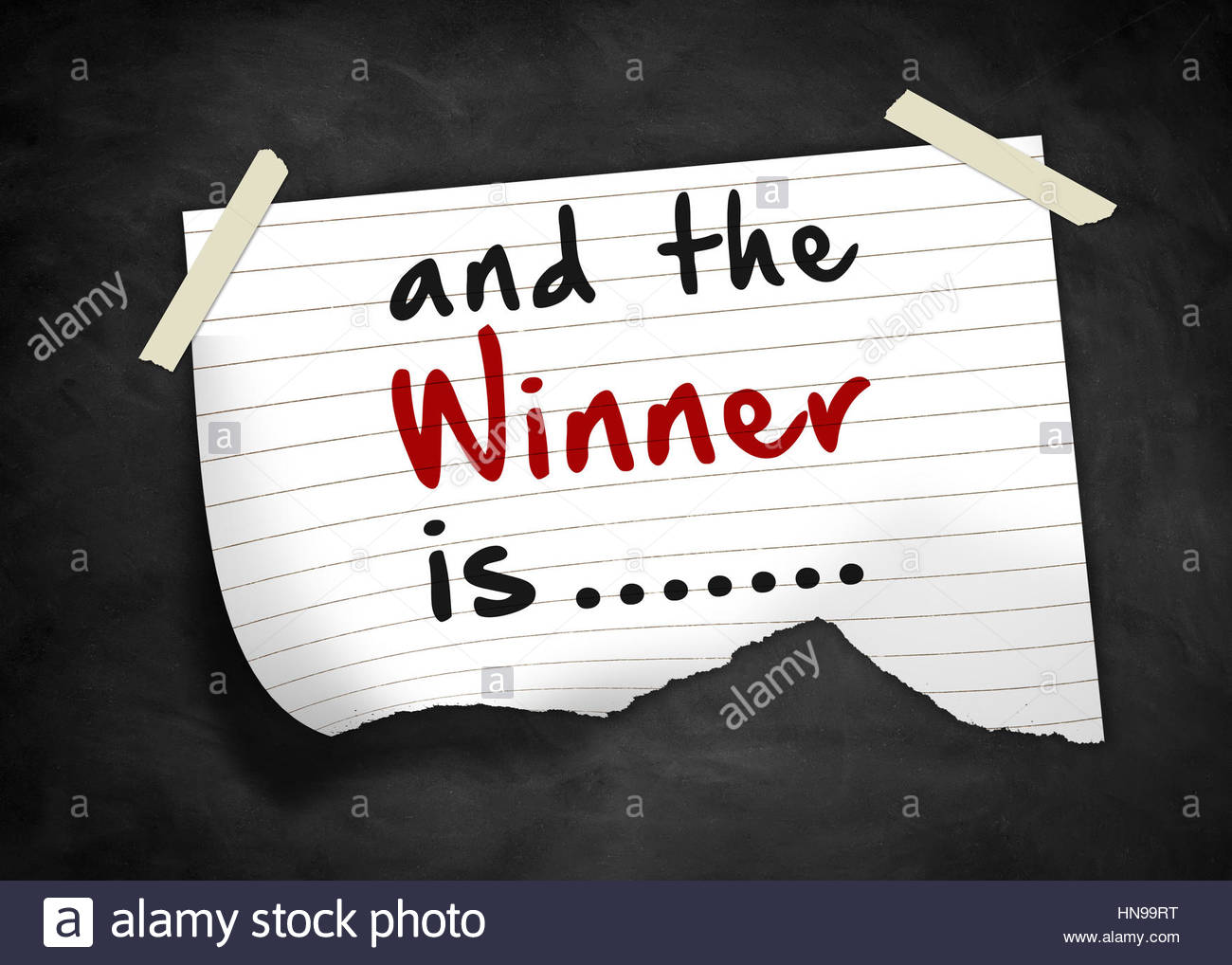 and the winner is - note message - Stock Image