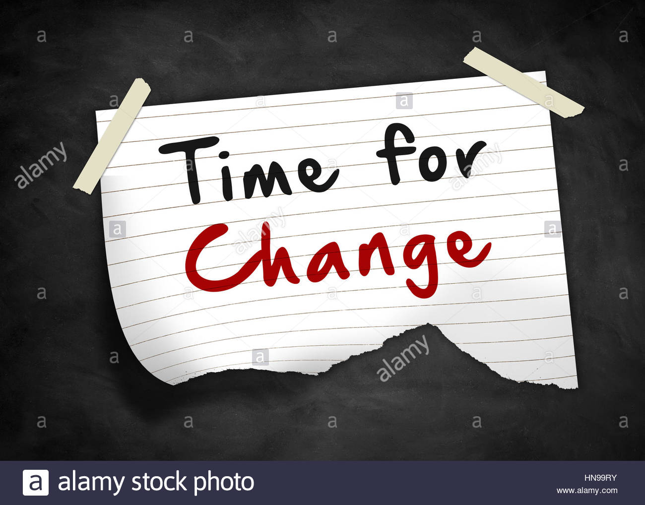Time for Change - note message - Stock Image