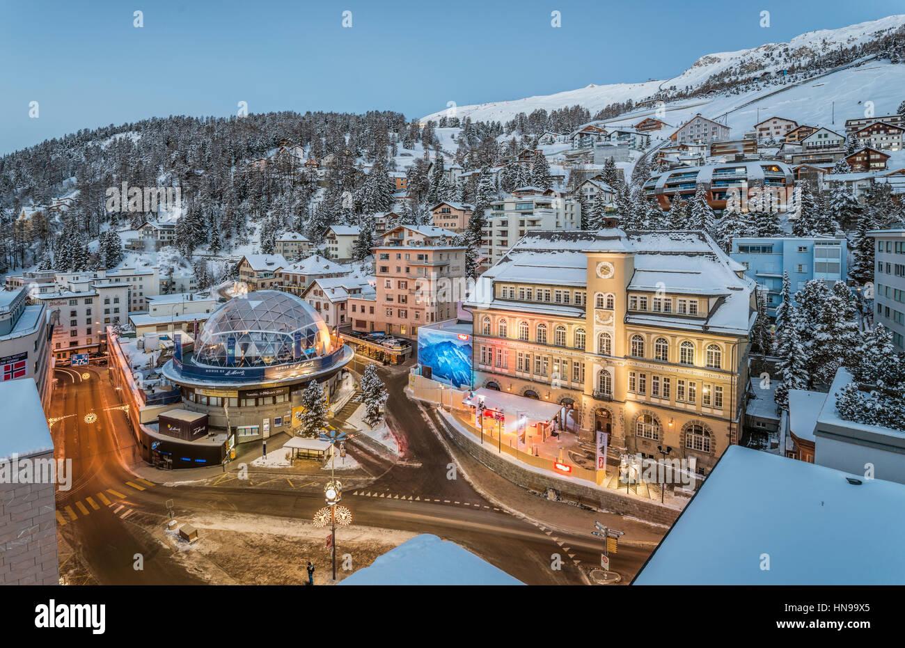 St.Moritz Schulhausplatz in Winter during FIS ALPINE WORLD SKI CHAMPIONSHIPS ST. MORITZ 2017 , Grisons, Switzerland Stock Photo