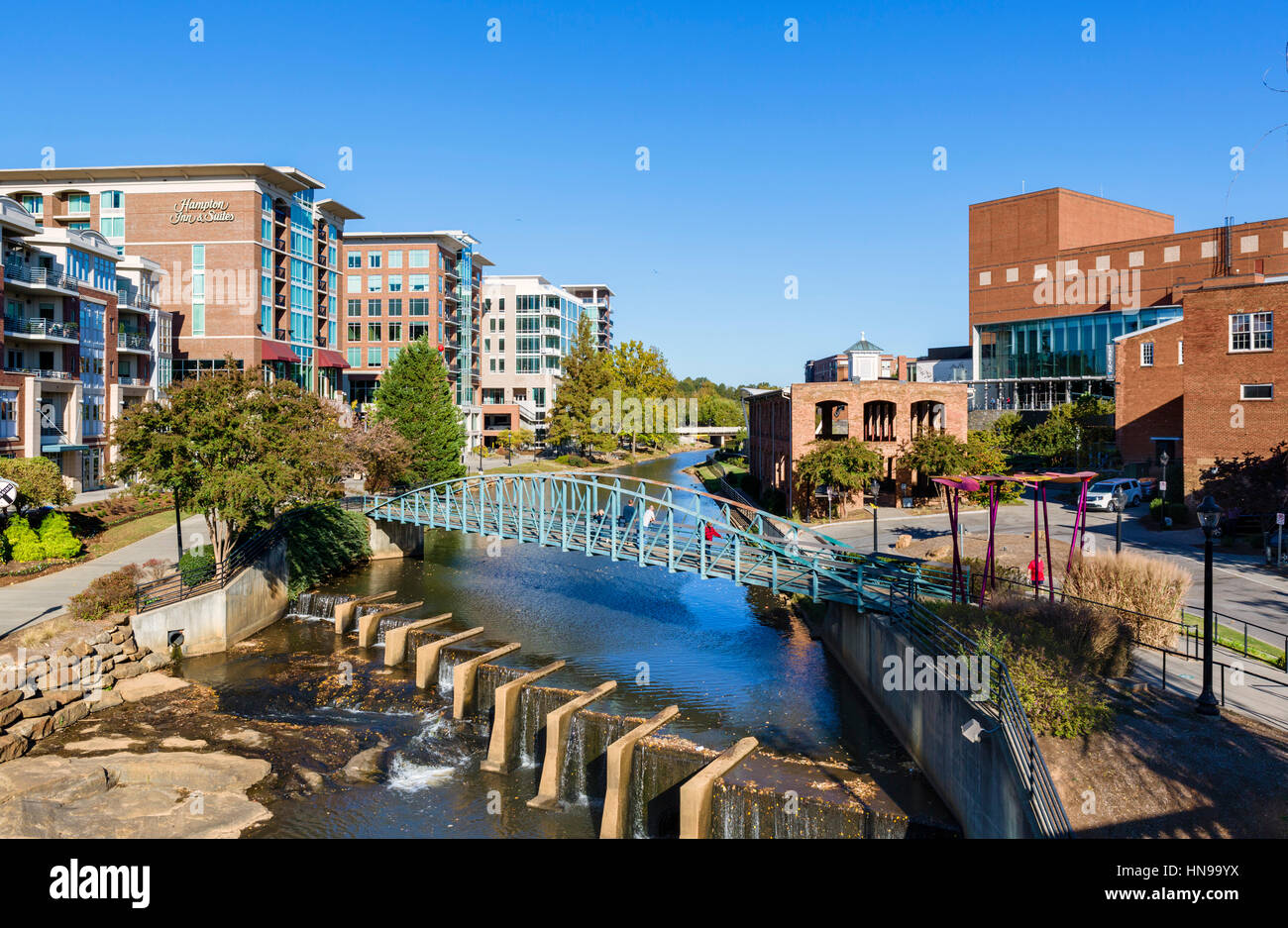 Greenville South Carolina. Falls Park on the Reedy River from the Stock Photo: 133585758 - Alamy