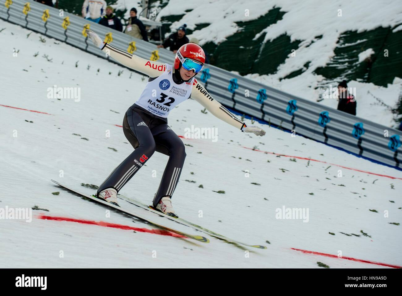 January 29, 2017: Svenja Wuerth (GER)  during the FIS Ski Jumping World Cup Ladies Rasnov (ROU) 2017 at Valea Carbunarii, - Stock Image