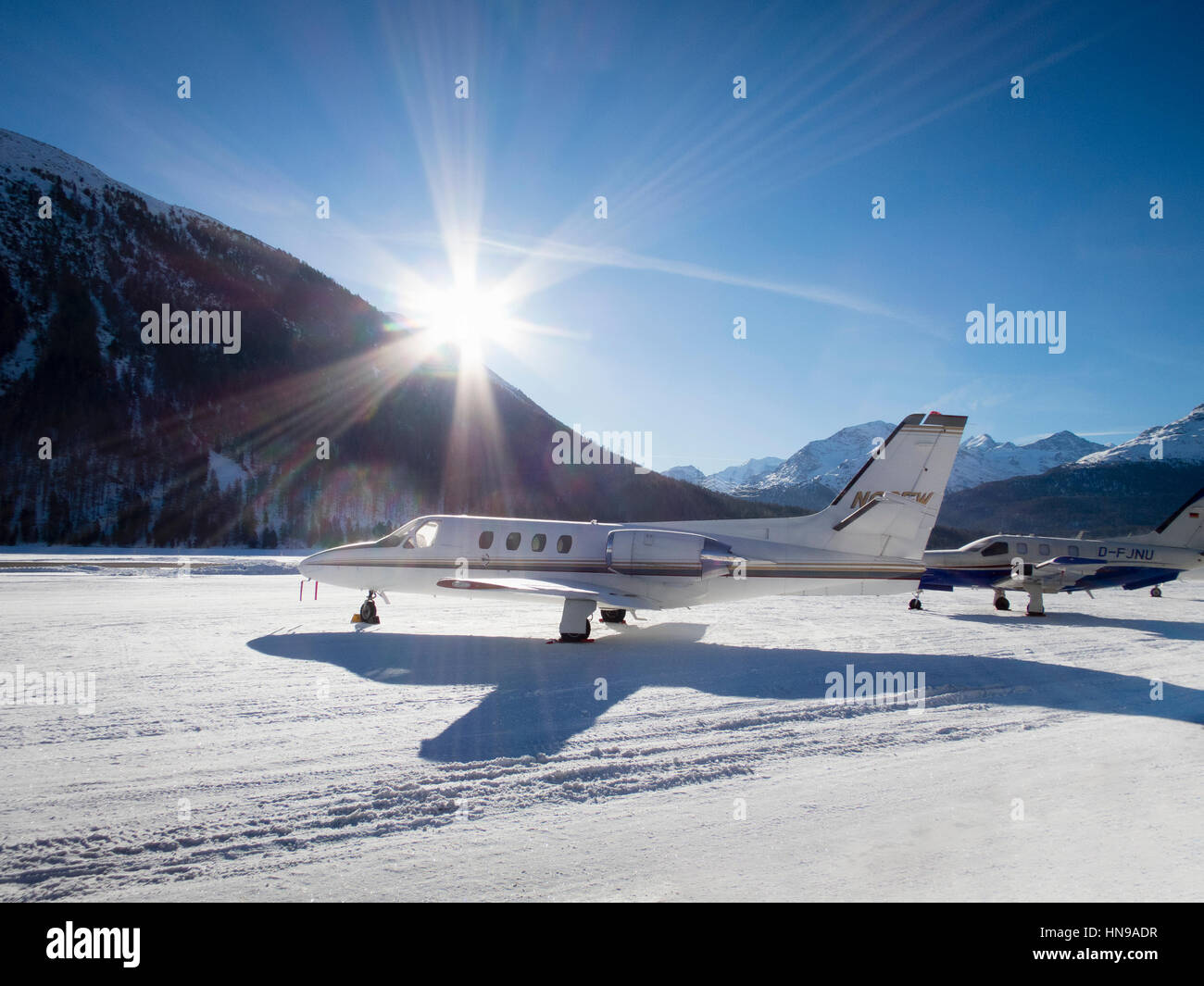 private jets in the snow Stock Photo