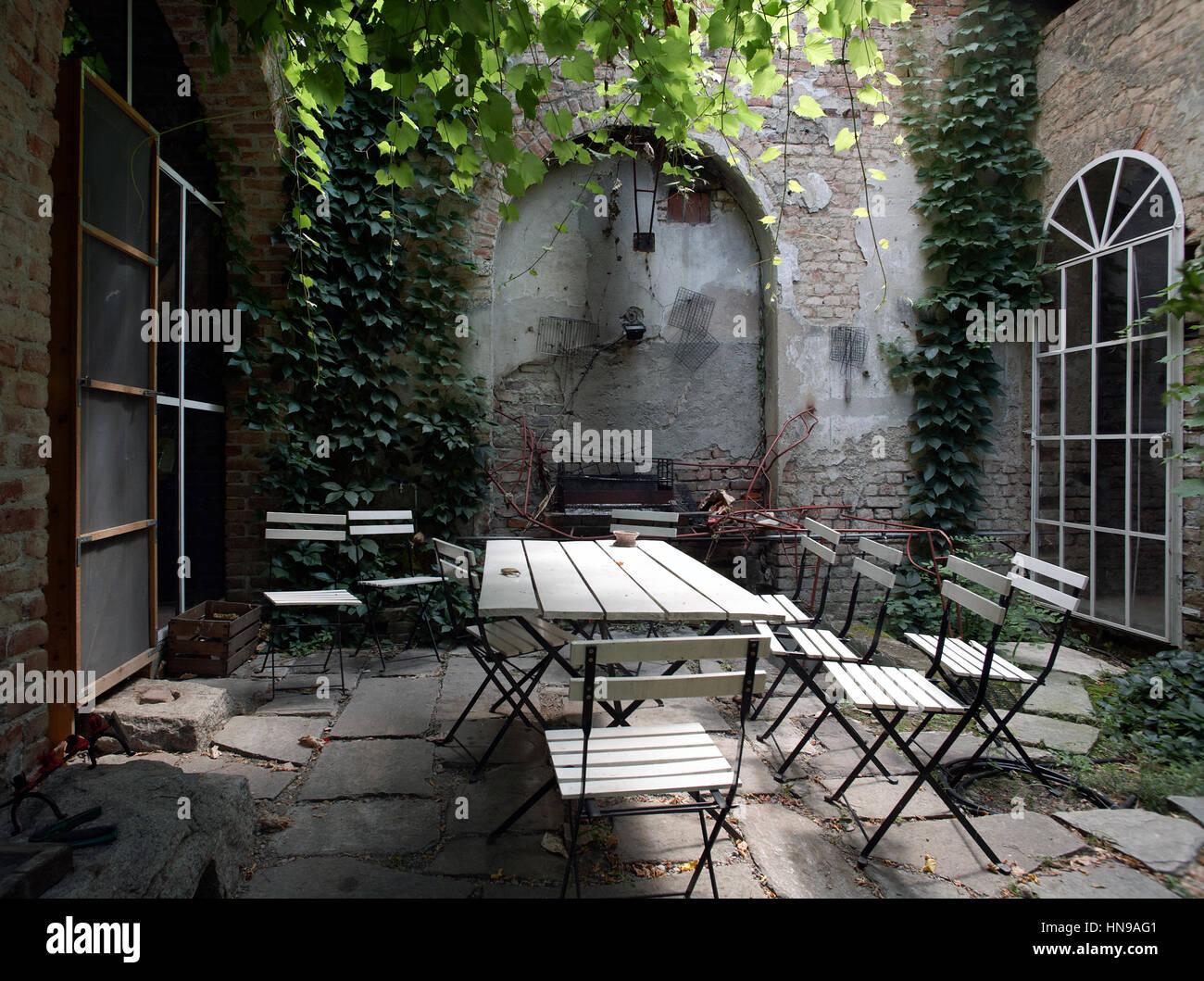 Interior garden close to the kitchen - Stock Image