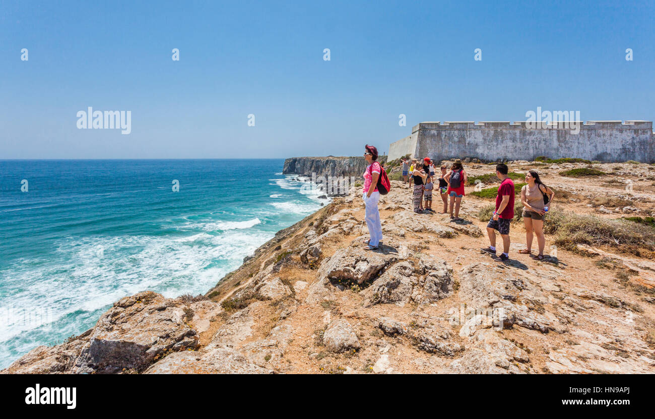 Portugal, Algarve, Sagres Fortress, a 15th century fort on a rocky headland at Ponta de Sagres, - Stock Image