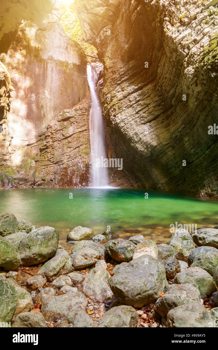 Kozjak waterfalls to the beautiful cave of Triglav National Park in Slovenia Stock Photo