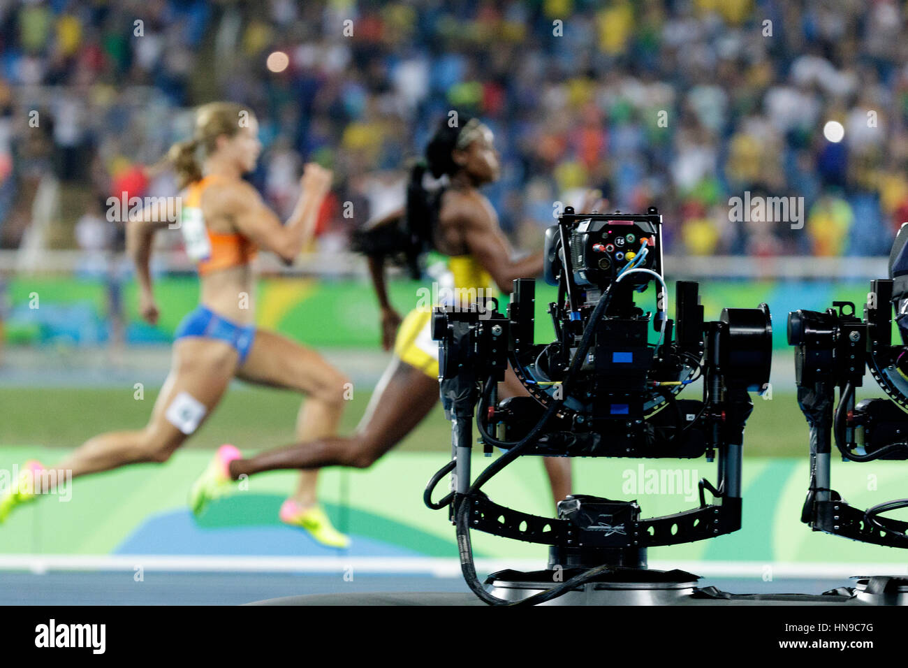 Rio de Janeiro, Brazil. 17 August 2016.  Athletics, TV cameras track the Women's 200m finals at the 2016 Olympic - Stock Image