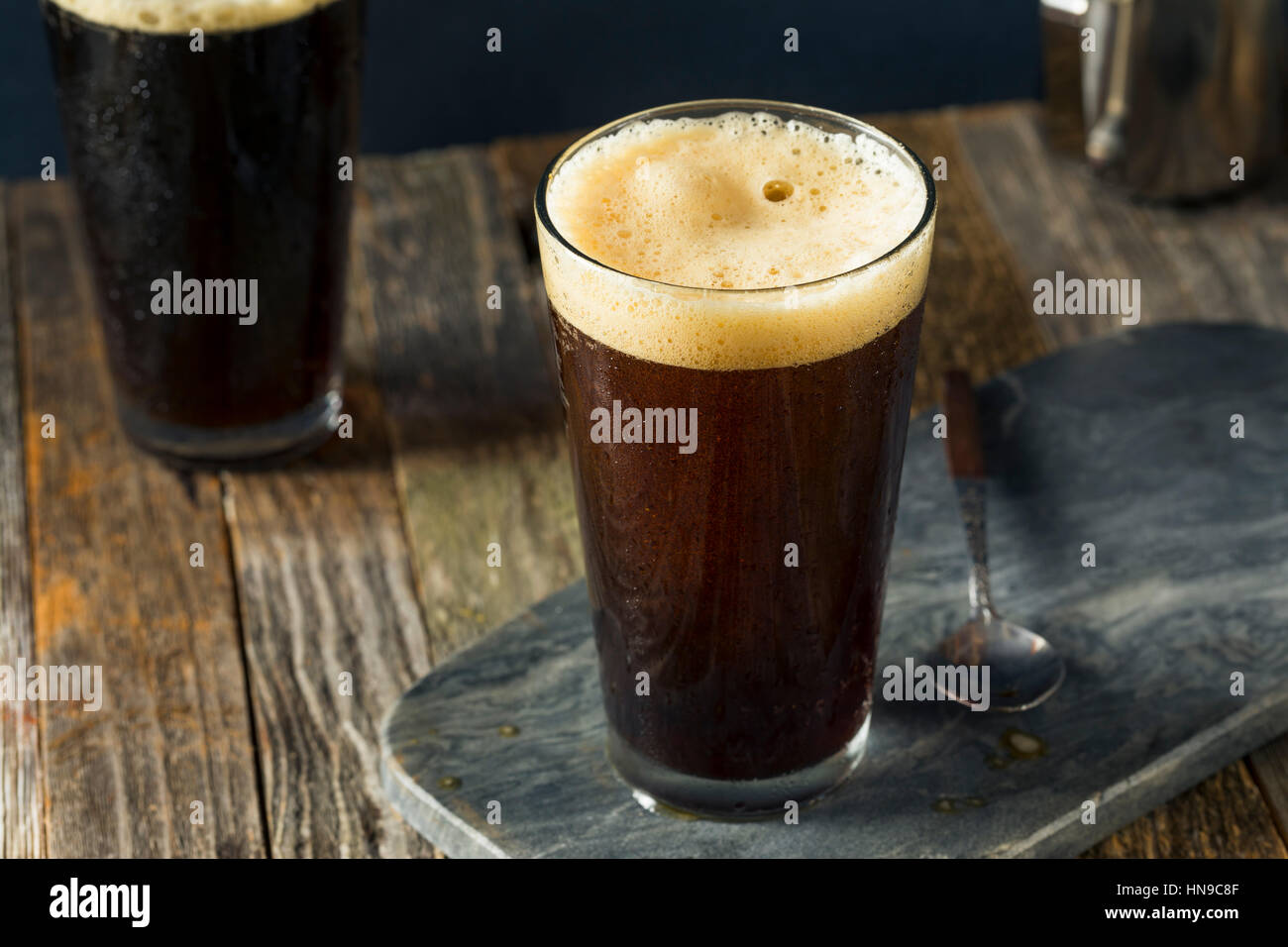 Frothy Nitro Cold Brew Coffee Ready to Drink - Stock Image