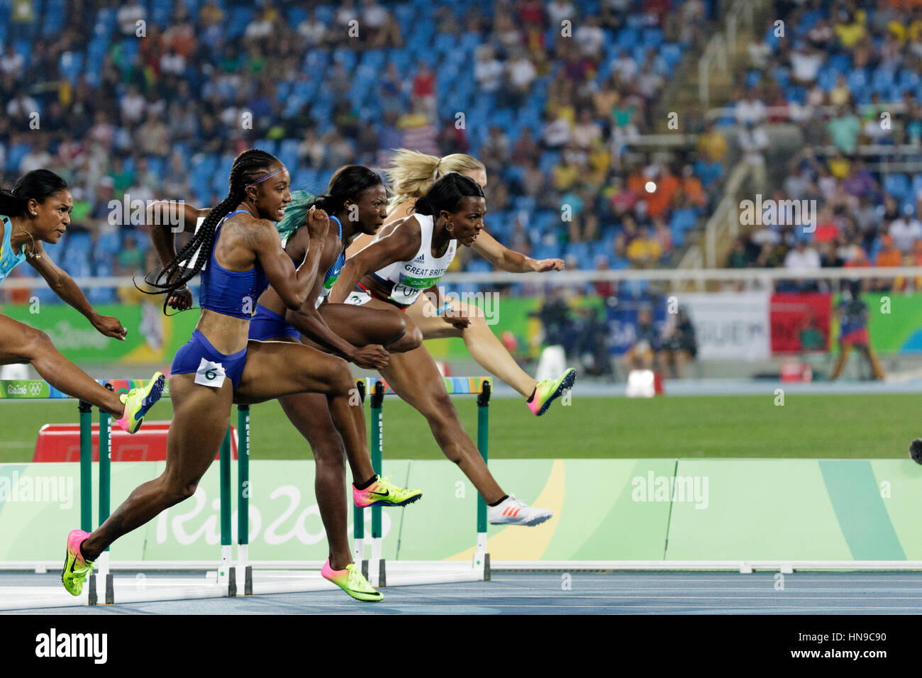 Rio de Janeiro, Brazil. 17 August 2016. Brianna Rollins (USA) #6 wins the gold medal in the Women's 100m Hurdles - Stock Image