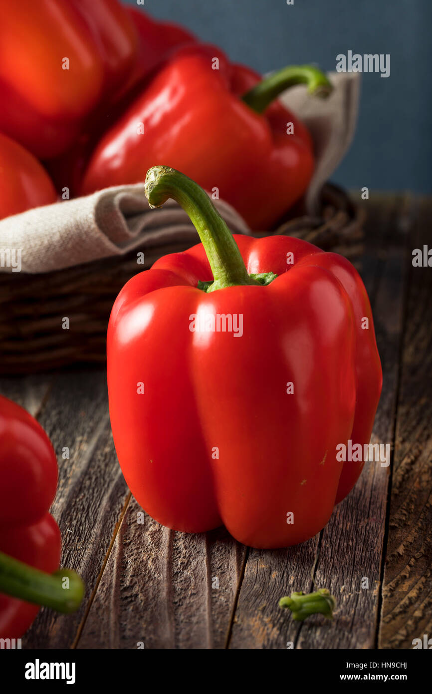 Raw Organic Red Bell Peppers Ready to Eat - Stock Image