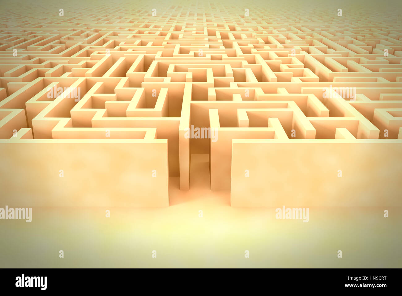 huge vintage maze structure with entrance - Stock Image