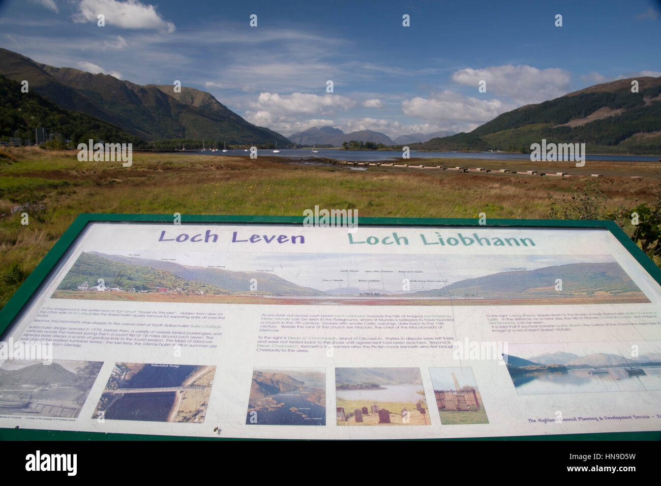 Loch Leven tourist sign at the edge of meadow beside the lake in highlands, scotland, uk - Stock Image