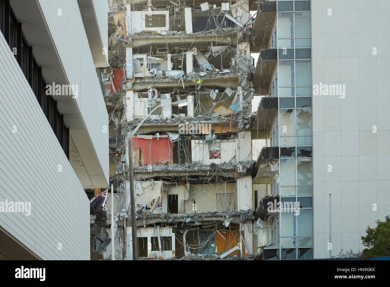 Building being demolished after 2016 earthquake, Wellington, North Island, New Zealand - Stock Image