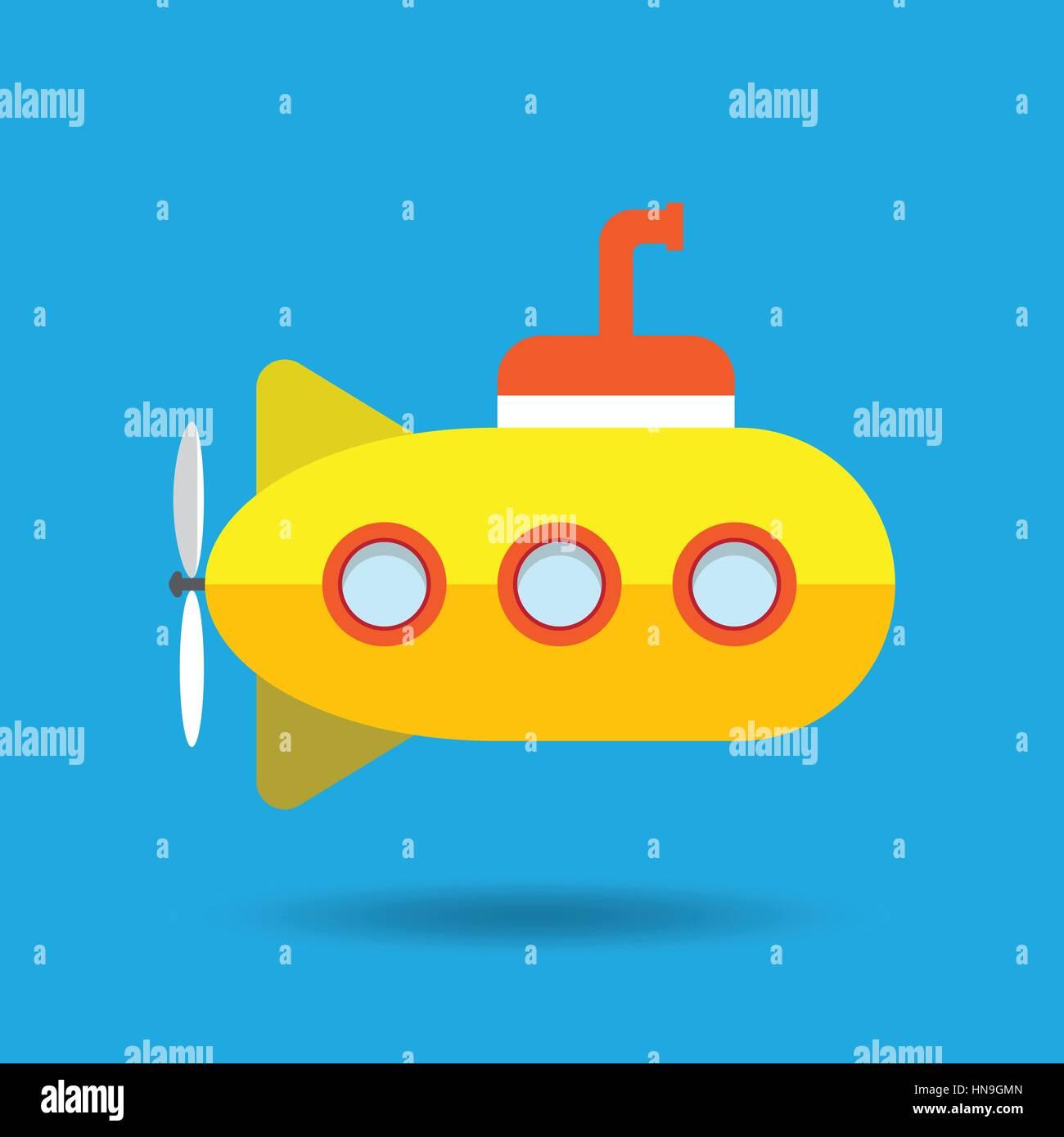 Yellow Submarine Vector Illustration - Stock Image