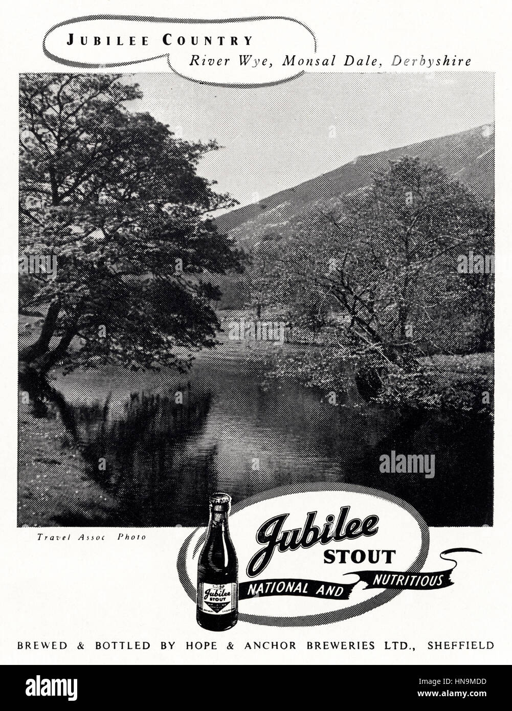 1950s advertising advert from original old vintage English magazine dated 1950 advertisement for Jubilee Stout by - Stock Image