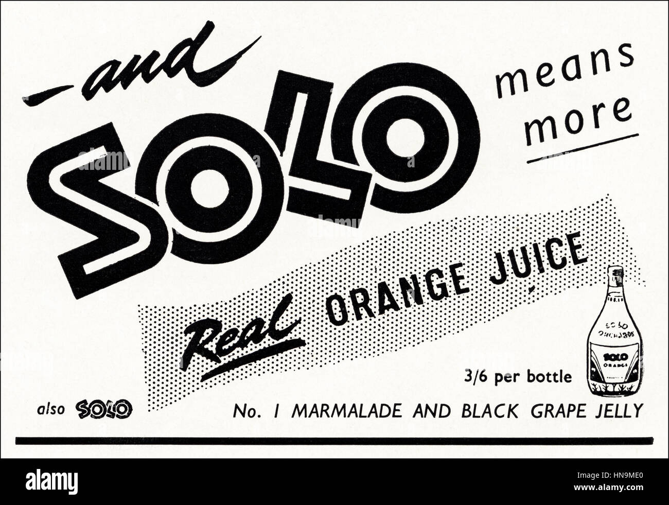 1950s advertising advert from original old vintage English magazine dated 1950 advertisement for Solo orange juice - Stock Image