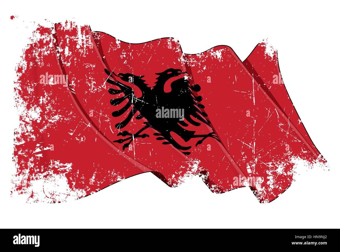 Grunge illustration of a Waving Albanian Flag - Stock Vector