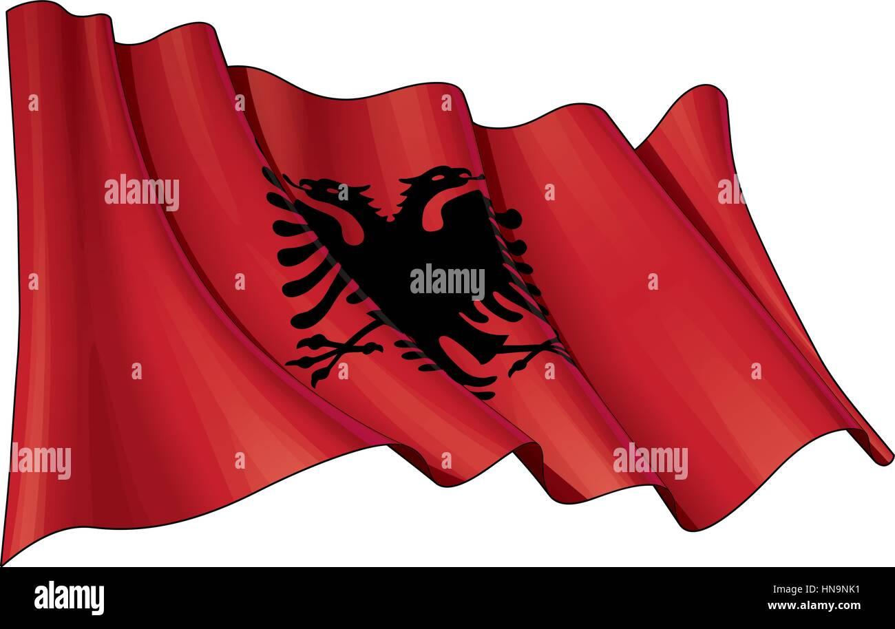 Illustration of a Waving Albanian Flag - Stock Vector