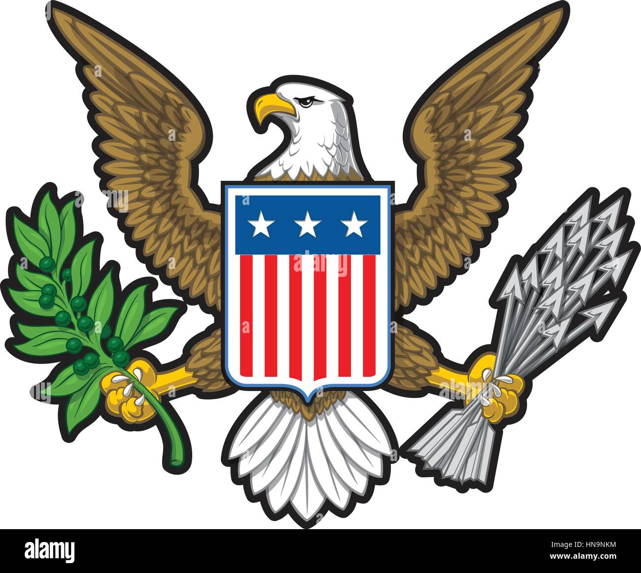Vector illustration of the American Bold Eagle National Symbol. The design has two layers of shadow to give the Stock Vector