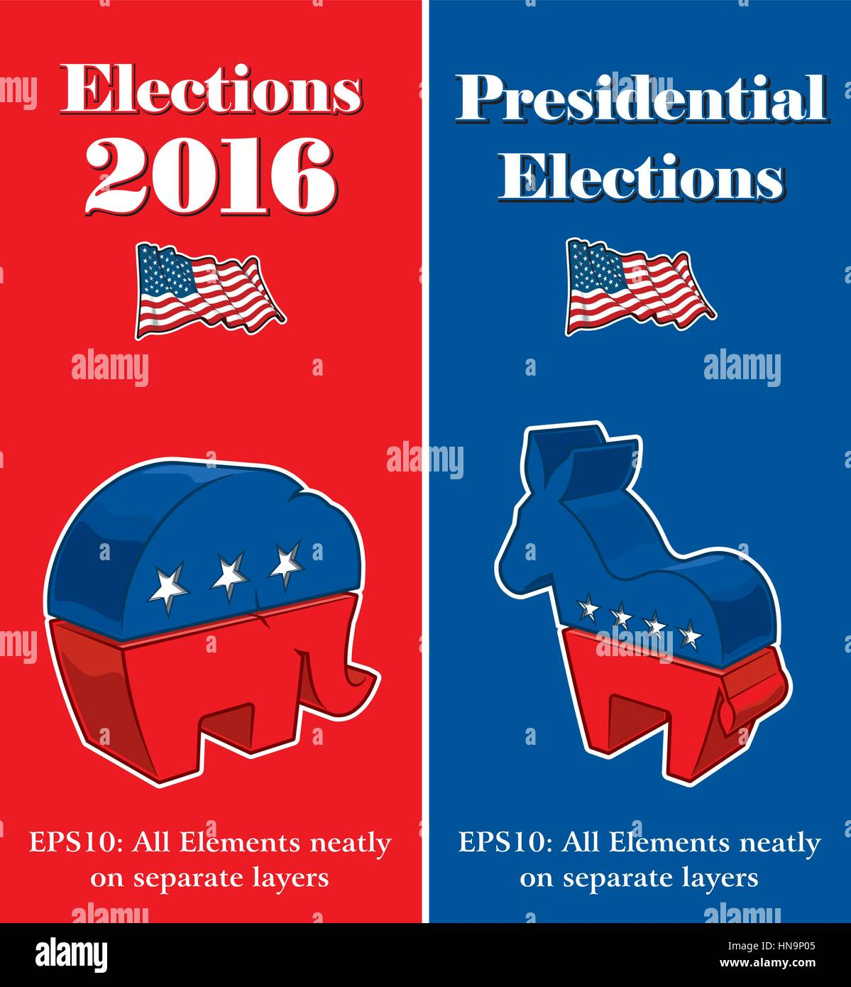 Vector banner mock ups about the American Presidential Elections compiled by the Republican and Democratic party - Stock Image