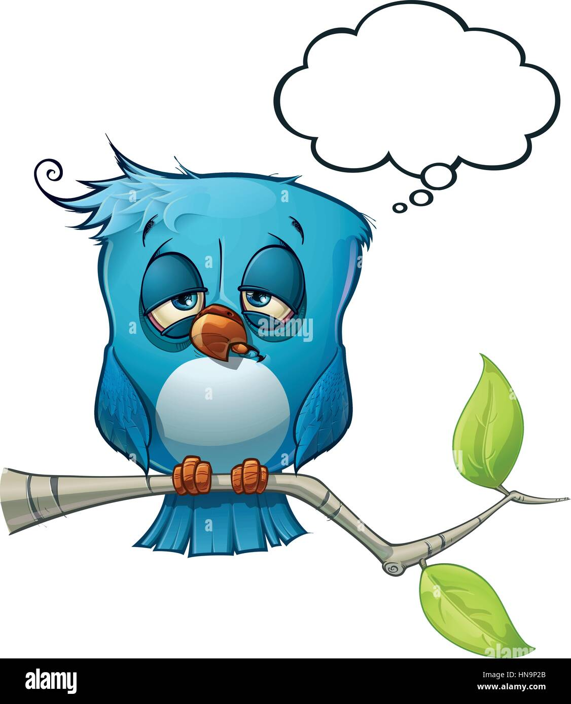 A blue bird communicates with style comments or opinions to the world! - Stock Image