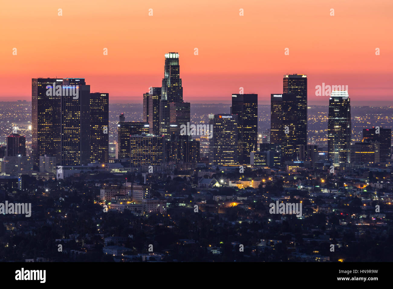 Pre dawn editorial view of downtown Los Angeles. California. Stock Photo