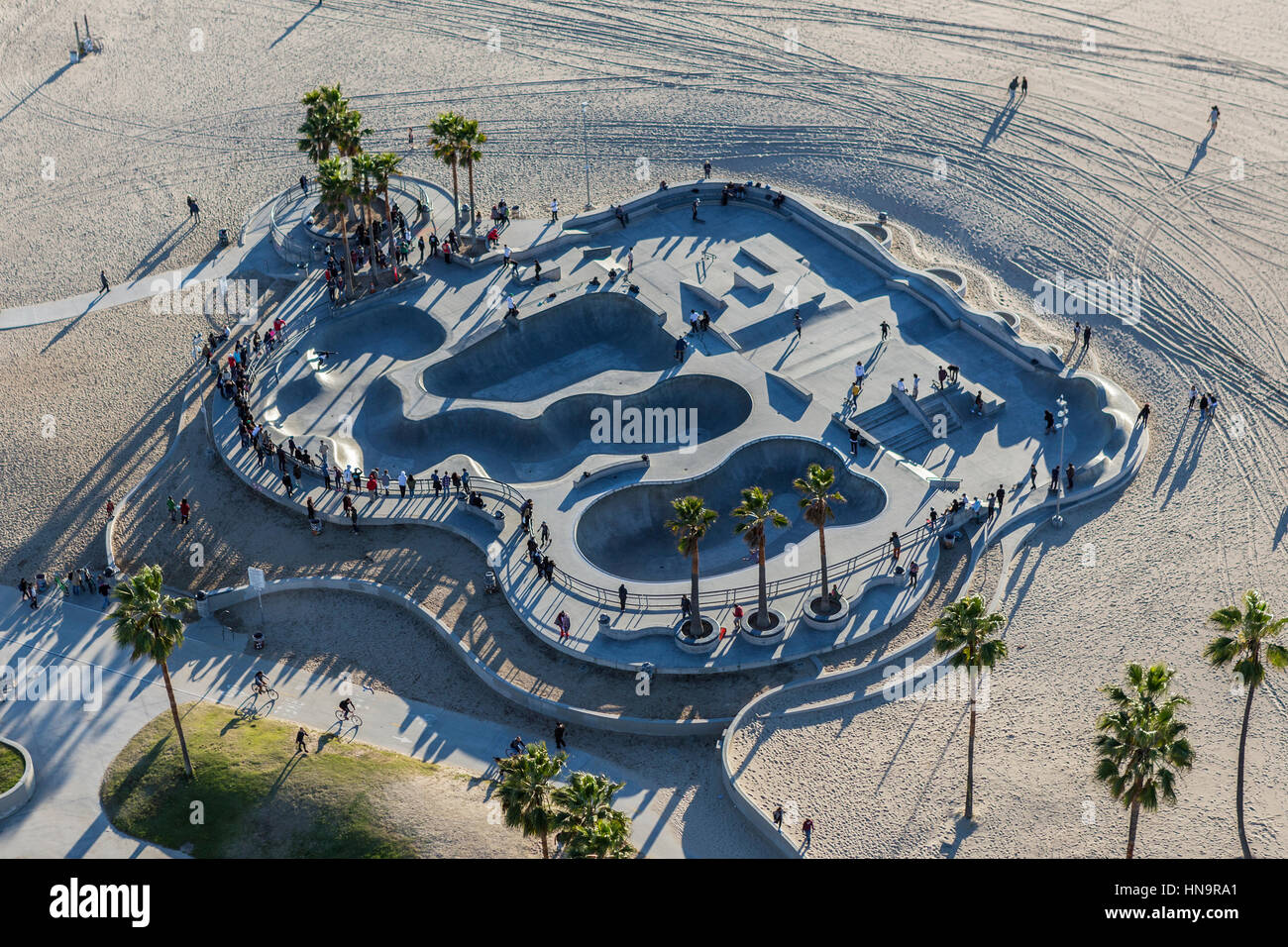 Los Angeles, California, USA - December 17, 2016:  Aerial of popular skateboard park at Venice Beach in Southern - Stock Image