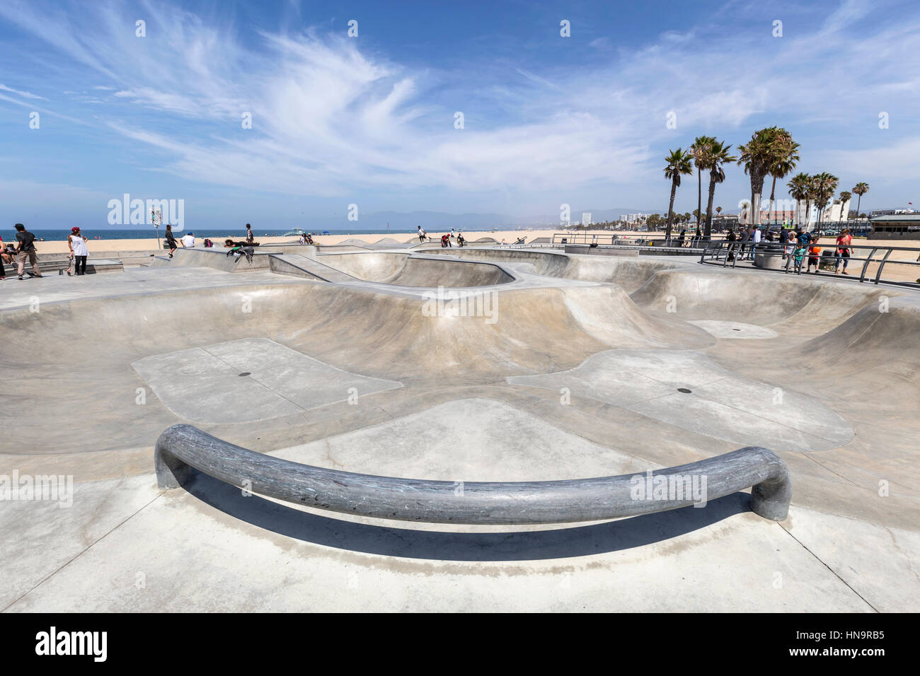 Editorial view of the popular Venice beach skate board park in Los Angeles, California. - Stock Image