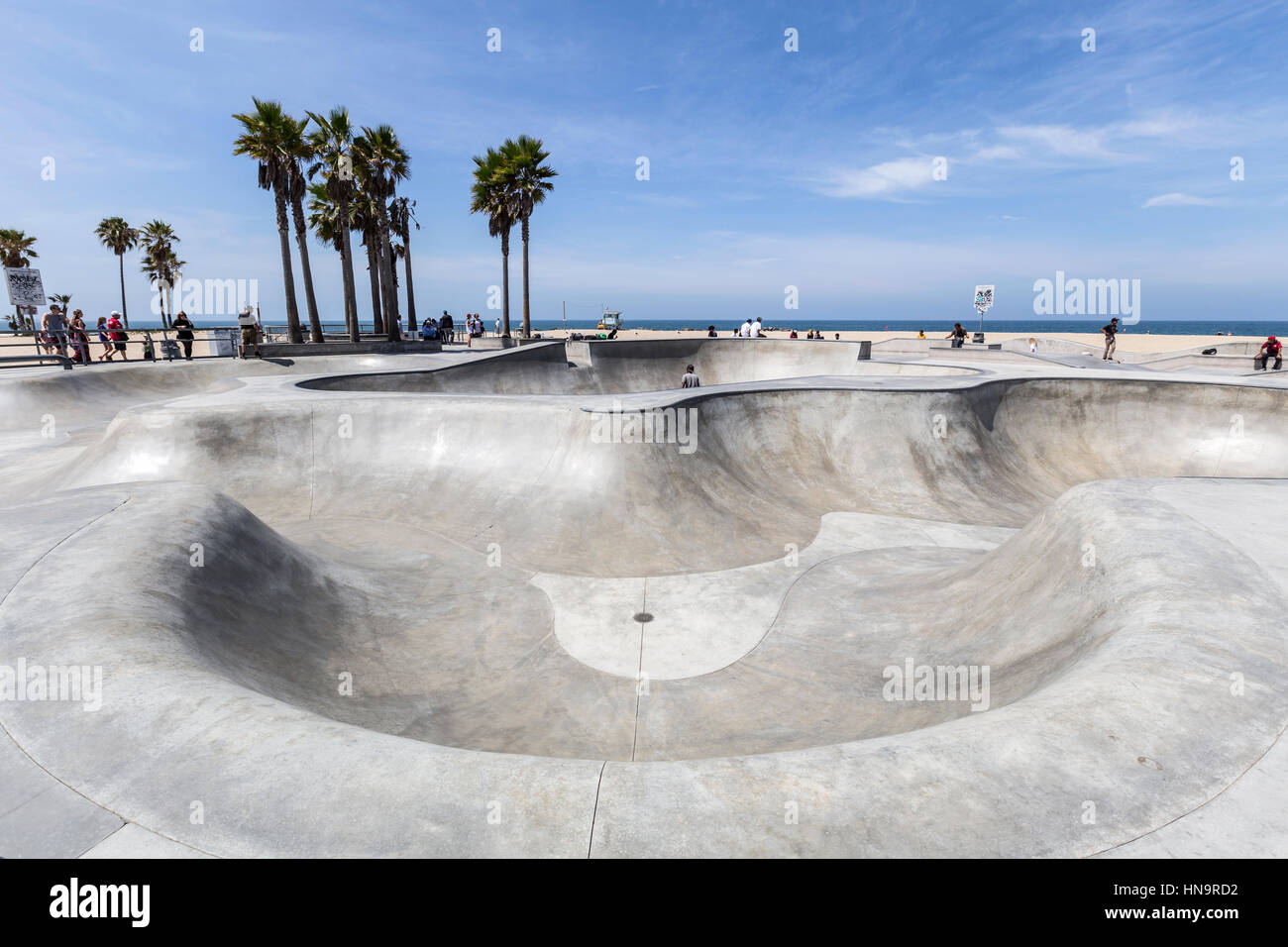 Editorial view of the Venice Beach public skate board park in Los Angeles, California. - Stock Image