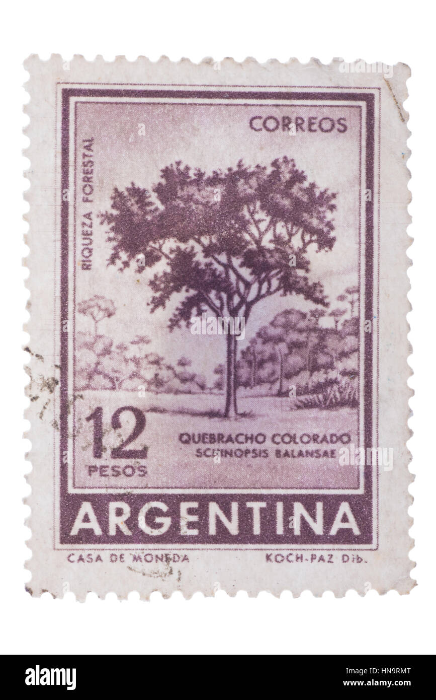 ARGENTINA - CIRCA 1964: A stamp printed in  shows Red Q - Stock Image
