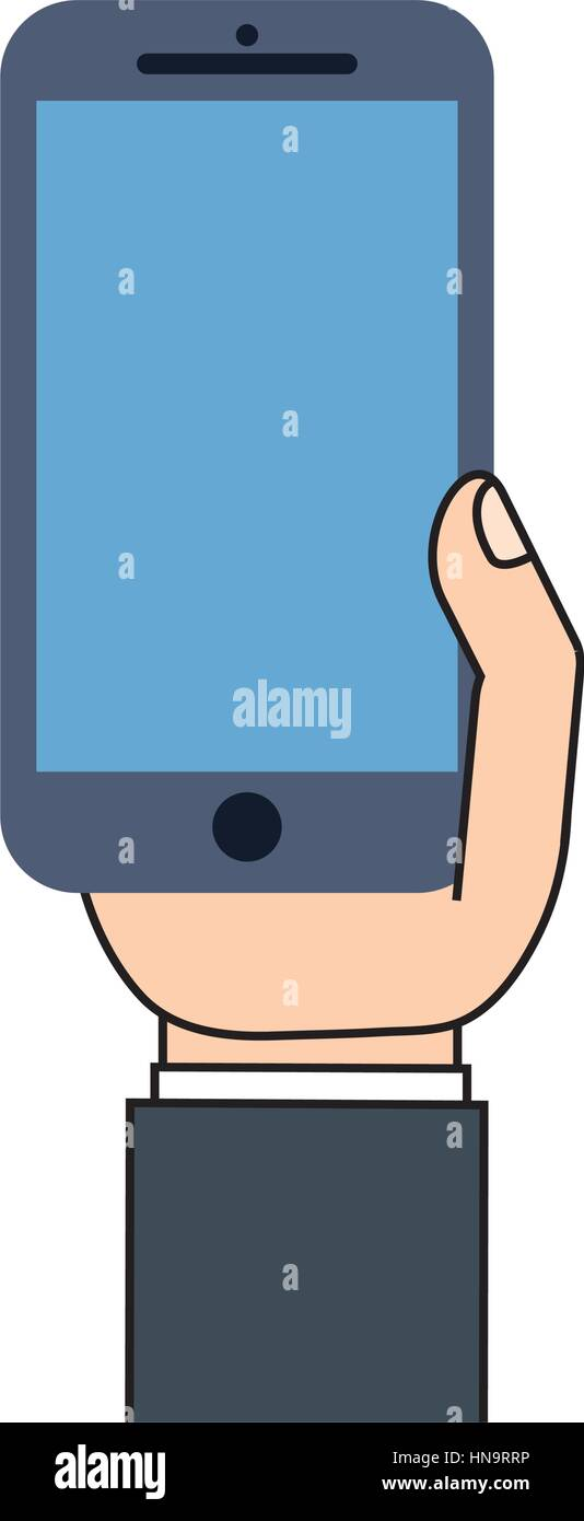 mobile phone in hand blue screen Stock Vector