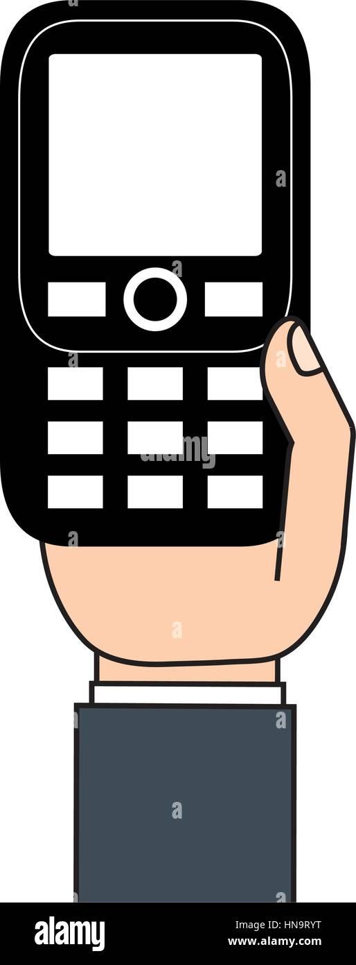 retro mobile phone in hand Stock Vector