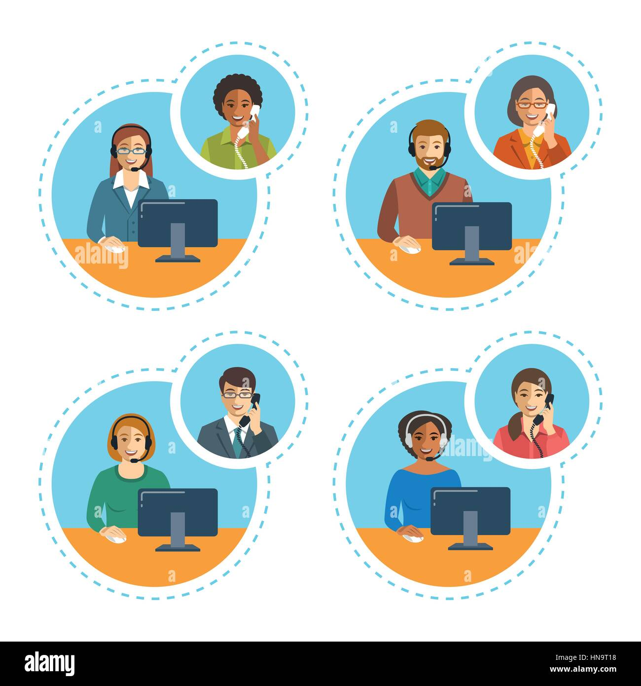 7c89a1152c3 Call center agents team talking on the phone with customers. Flat vector  banners. Customer care operators. Online technical support service  assistants