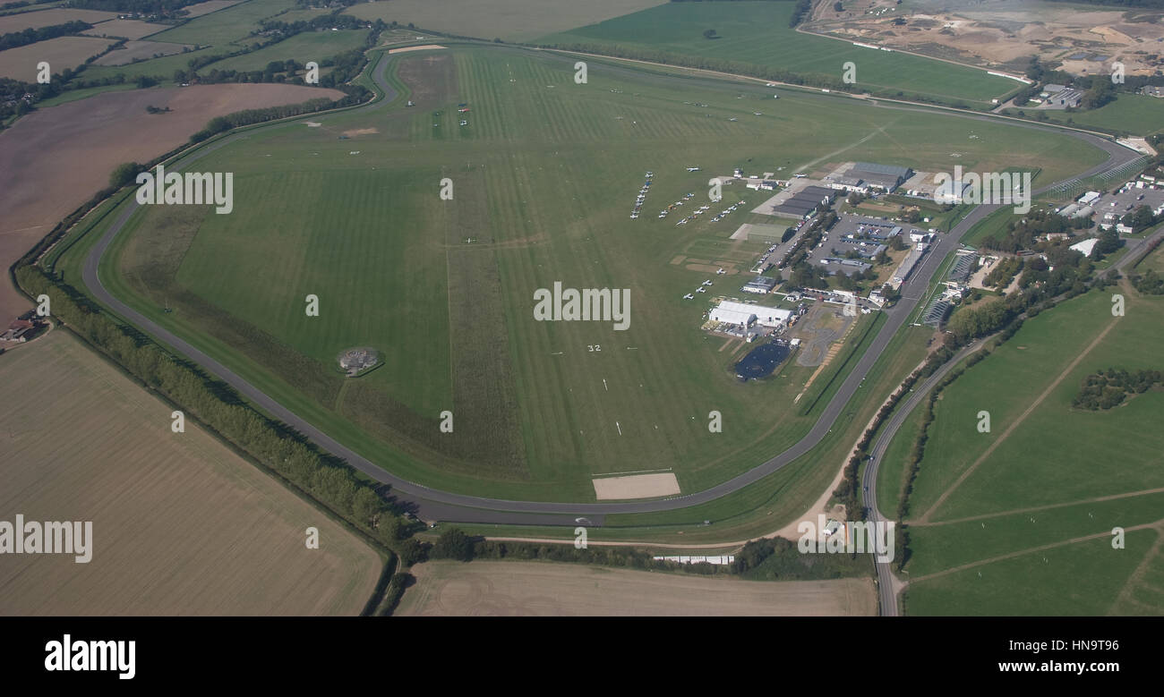 Aerial view of Goodwood Aerodrome and Race Circuit Chichester West Sussex - Stock Image