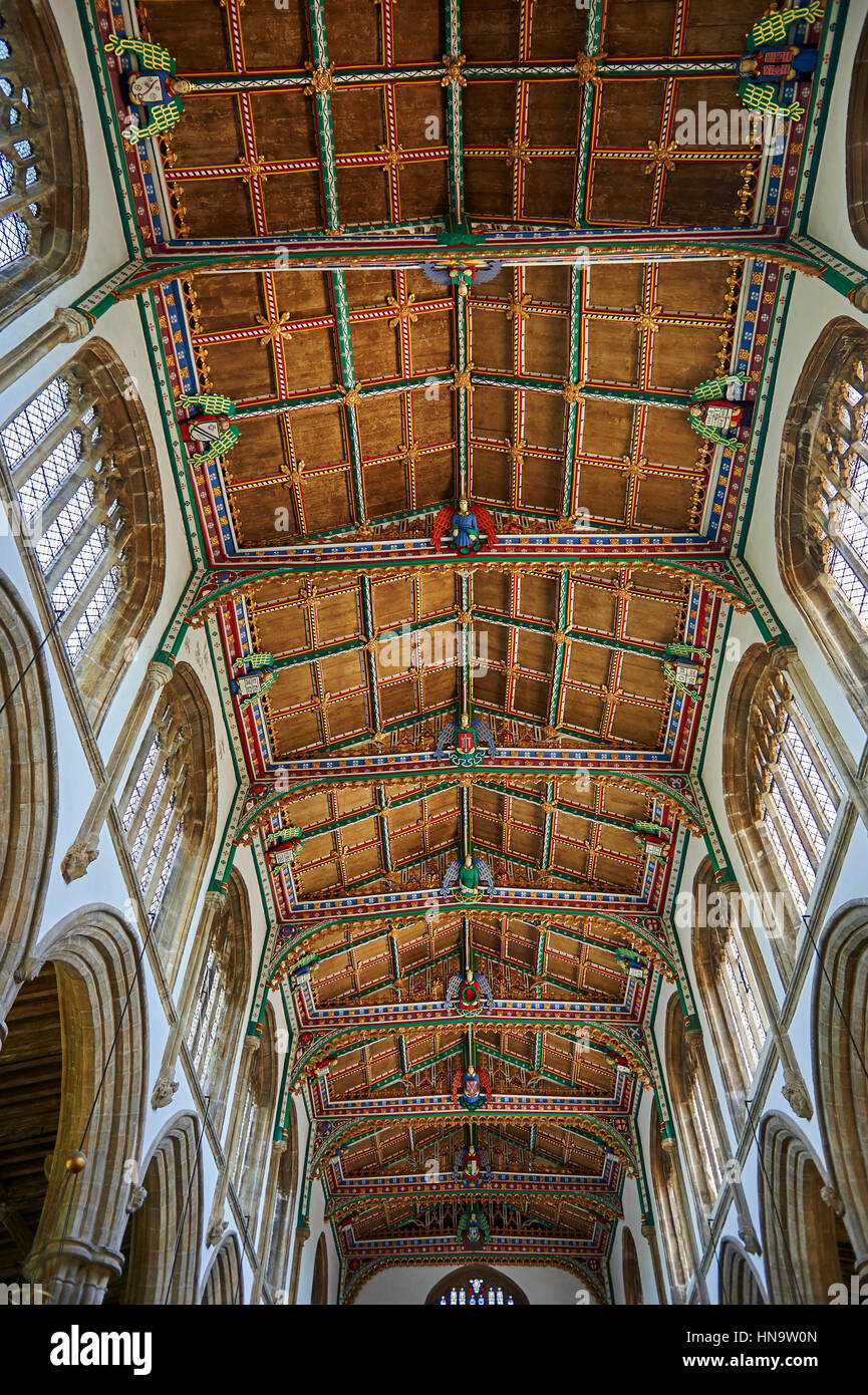 15th Century Gothic Wooden Painted Angel Roof Restored In 1963 Of The Church St Cuthbert Wells Somerset England