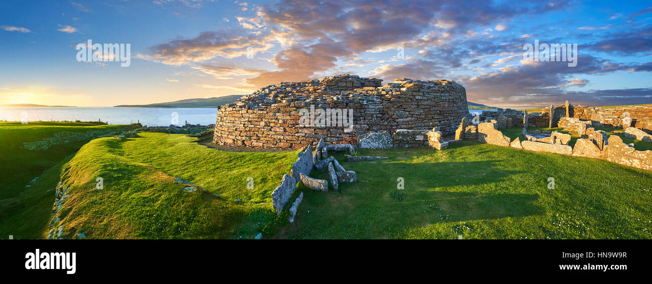 The Broch of Gurness is a rare example of a well preserved broch village (500 to 200BC), Orkney Island, Scotland. - Stock Image